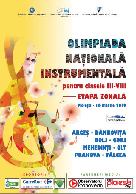 Olimpiada Națională Instrumentală pentru clasele III-VIII Faza Zonală
