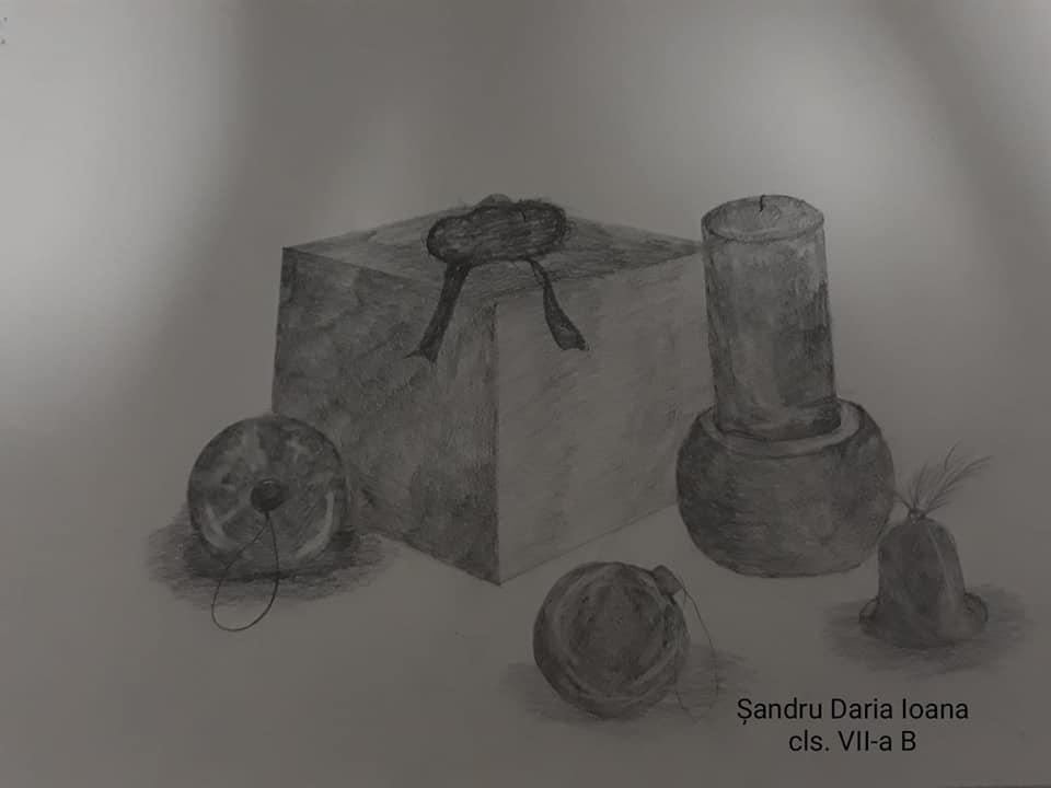 """Clasa a VII-a B grupa A. Profesori Camelia Profirescu, Lavinia Raican. Expoziția """"Poveste de Crăciun""""."""